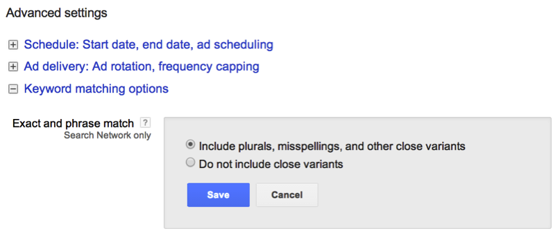 adwords match type variants