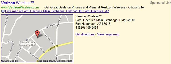 Google AdWords Search Network Location Extention Ad