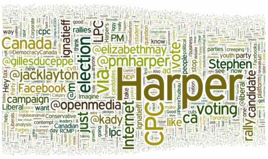 Word Map for Canadian Federal Election 2011 Twitter terms